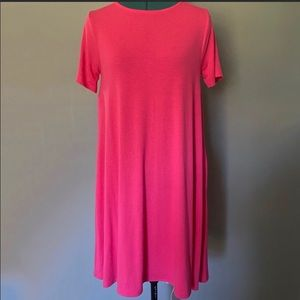Bright Pink Midi T Shirt Dress